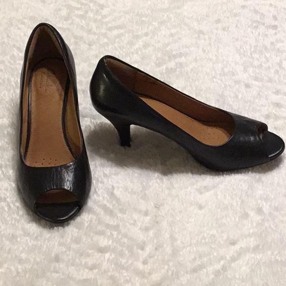 Clarks Genuine Leather Black Peep Toe